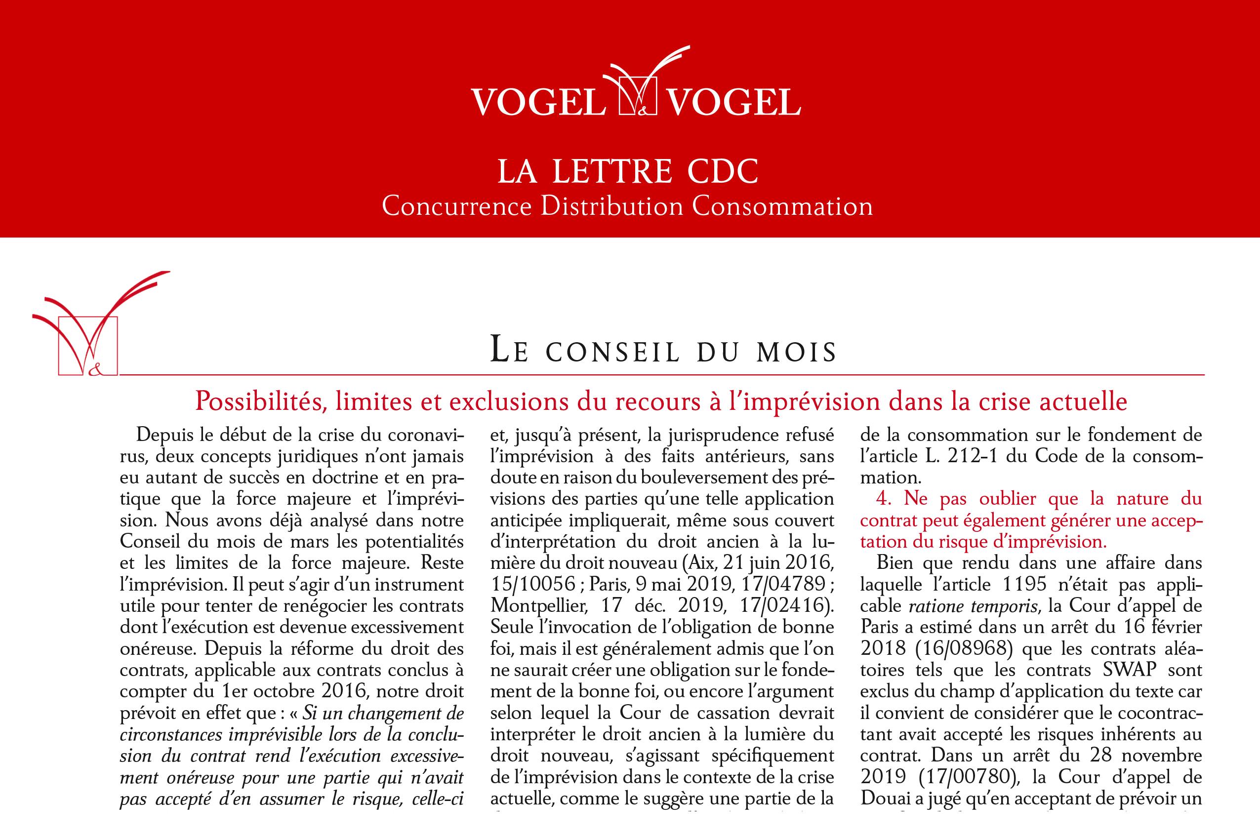 Vogel&Vogel - Lettre CDC - Conseildu mois avril 2020