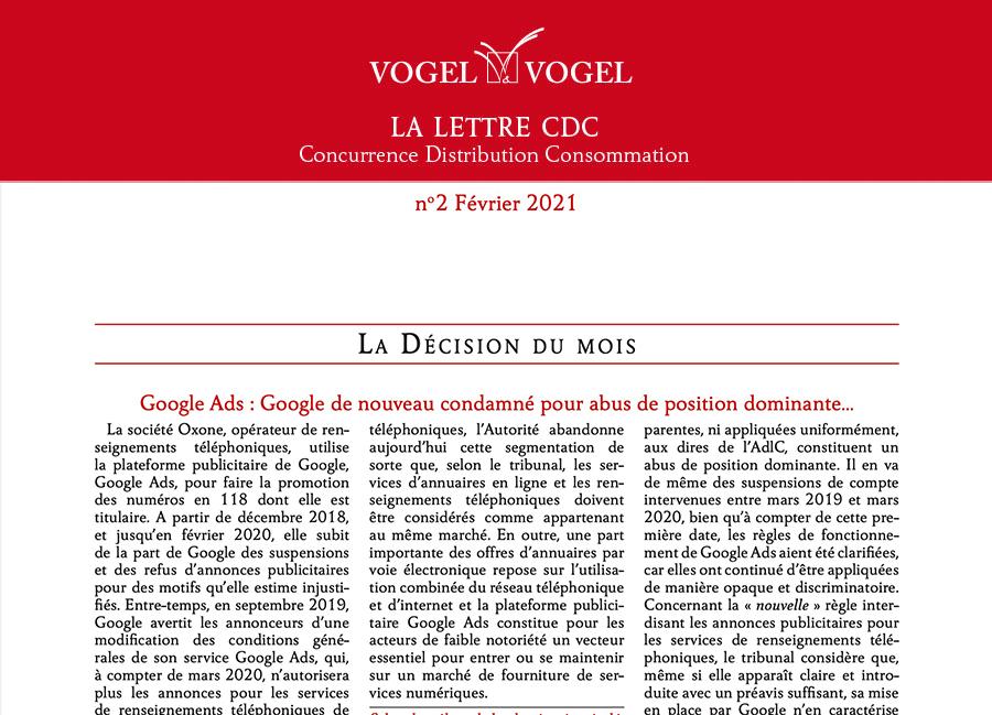 Vogel&Vogel • Lettre CDC Fevrier 2021