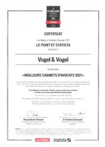 Certificat Les Meilleurs Cabinets d'Avocats 2021