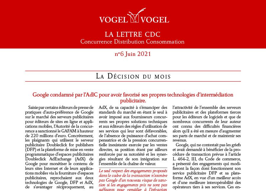 Vogel&Vogel • Lettre CDC Juin 2021