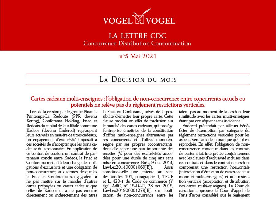 Vogel&Vogel • Lettre CDC Mai 2021